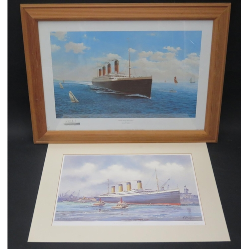 29 - K.W. BURTON, S.S. TITANIC, limited edition print, F&G, 37x26cm and one Date With Destiny Print by Ad...