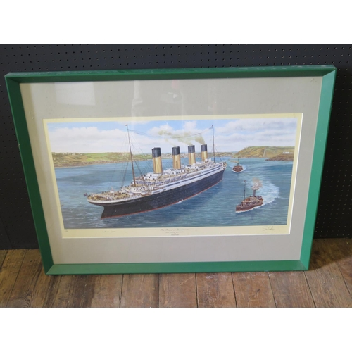 30 - Simon Fisher, The Titanic at Queenstown, artist endorded and signed in pencil by Millvina Dean, F&G,...