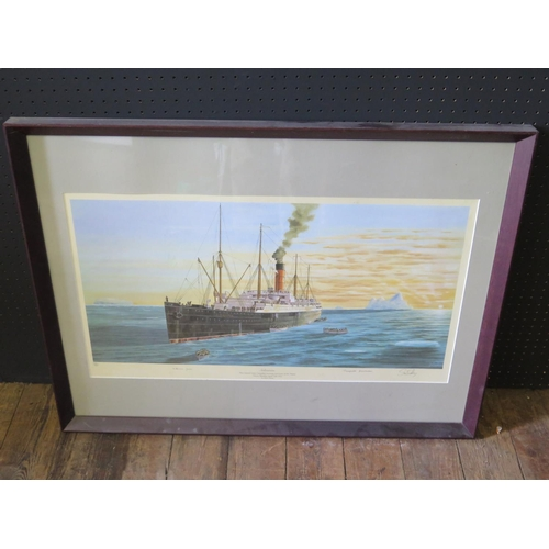 31 - Simon Fisher, Carpathia, artist endorsed limited edition print, pencil signed by Millvina Dean and M...