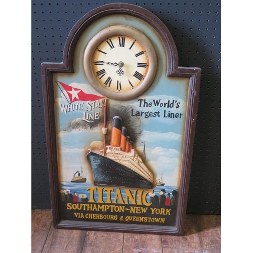32 - Titanic _ A Modern Hand Painted Relief Wall Plaque with clock, 65x40cm...