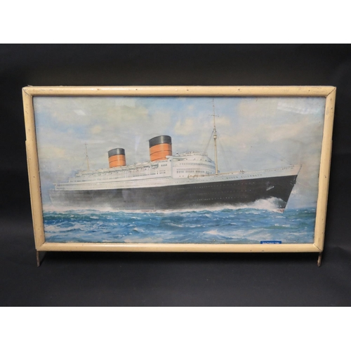 33 - An Original Cunard Line Two Sided Advertising Plaque from Southampton Office featuring prints of Que...