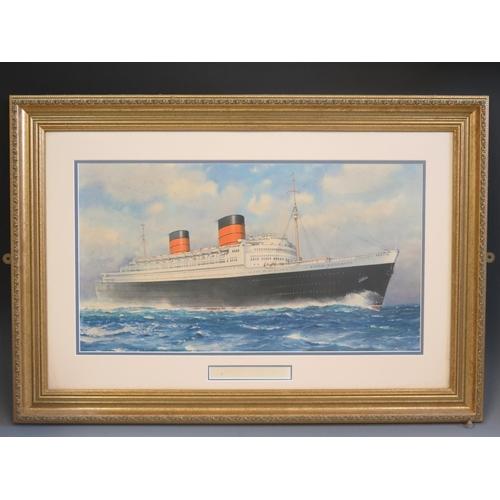34 - C.E. Turner, QUEEN ELIZABETH, print, faded signature Commodore Geoffrey T. Marr, F &G, 62x33.5cm...