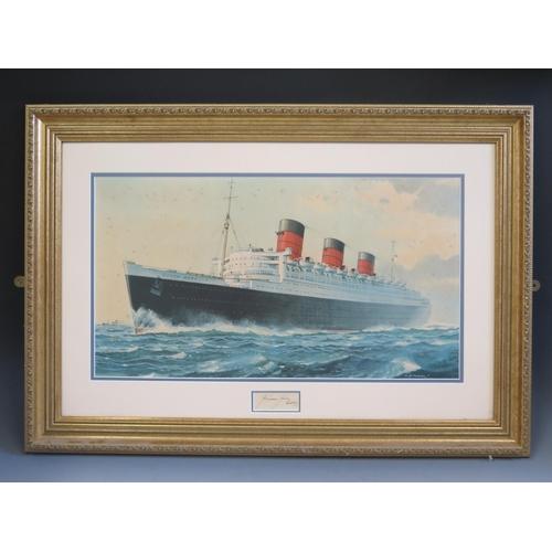 35 - C.E. Turner, QUEEN MARY, print, signed J. Treasure Jones Captain, F &G, 62x33.5cm...