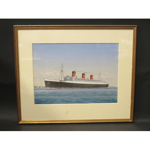 37 - J. Nicholson Scottish Marine Artist (1921-2004) , QUEEN MARY, gouache, F&G, 36x26cm...