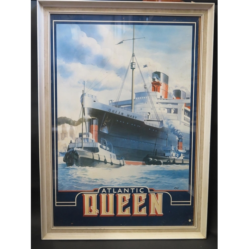 38 - ATLANTIC QUEEN _ Poster of R.M.S. QUEEN MARY, initialled RBH, F&G, 87x60cm...