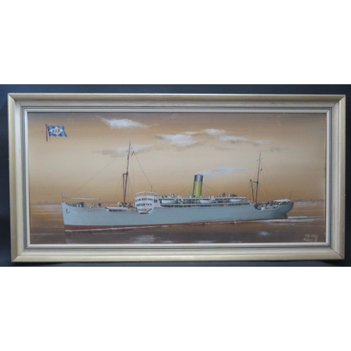 4 - Frederics 76, R.M.S. Bayard, oil on canvas, framed, 90x39.5cm...