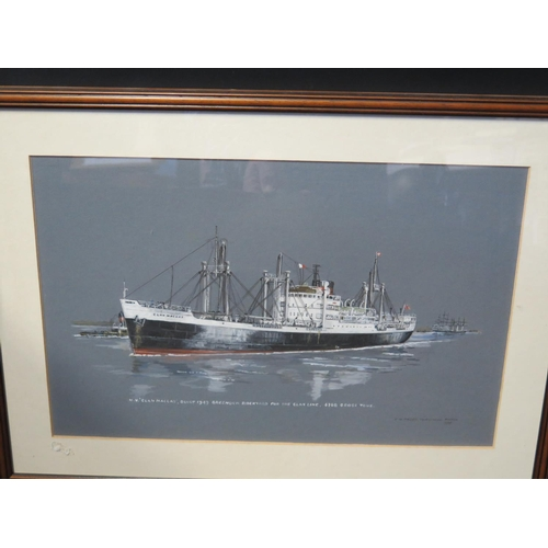 43 - E.W. Paget-Tomlinson March 1995, M.V. Clan MacLay, gouache, F&G, 47x30cm and print of Clan Malcolm...