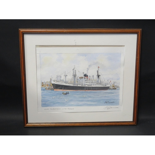 44 - J.A. Drinkwater, Clan Robertson in the Mersey, pencil signed print, F&G, 36x27cm...