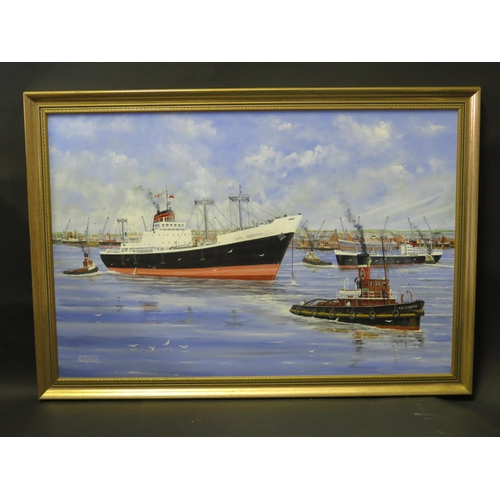 48 - N.G. Tacey, Clan Robertson departing Avonmouth, oil on board, framed, 75x50cm **WITHDRAWN**...