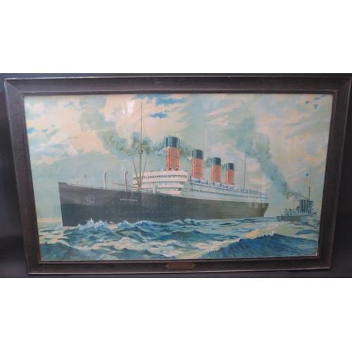 5 - Aquitania, print, in ebonised glazed frame with brass CUNARD LINE plaque, 95x54.5cm...