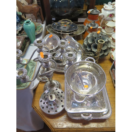 11 - A Selection of Electroplated Silver Hollow Ware including entree dish, tray, candelabra etc....