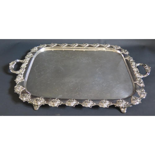 18 - A Large Silver Plated Two Handled Tray, 64cm long...