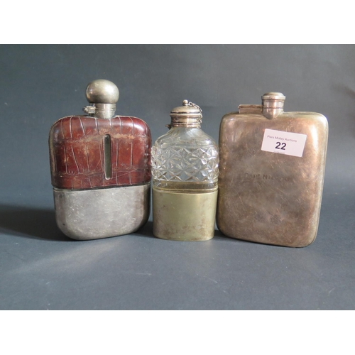 22 - An Electroplated Silver Hip Flask engraved CAPT. MILTON and two others...