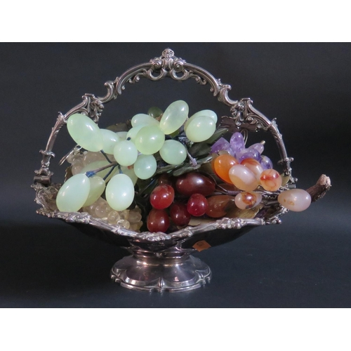 25 - A Walker & Hall Electroplated Silver Swing Handled Basket and contents of polished agate and other v...