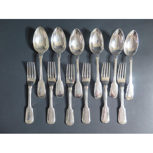 27 - A Set of Six Silver Plated Serving Spoons and Forks...