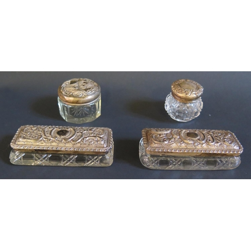 29 - A Pair of Edward VII Silver Mounted Cut Glass Dressing Table Boxes, Birmingham 1902 (9.5x4cm) and tw...