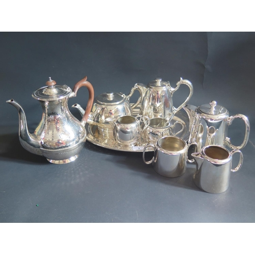 3 - Electroplated Silver Tea Ware including tray silver napkin ring and plated cutlery...