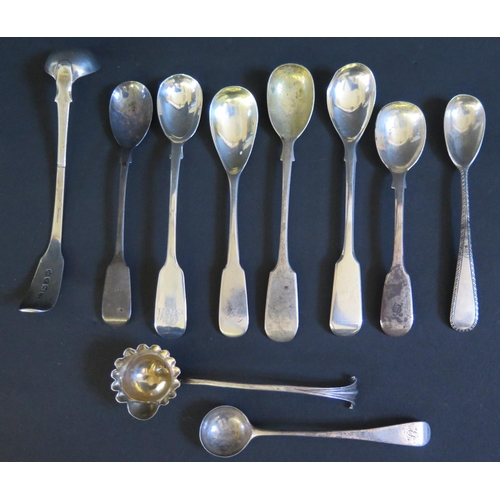 35 - Ten Georgian Sterling Silver Condiment Spoons, 134g...