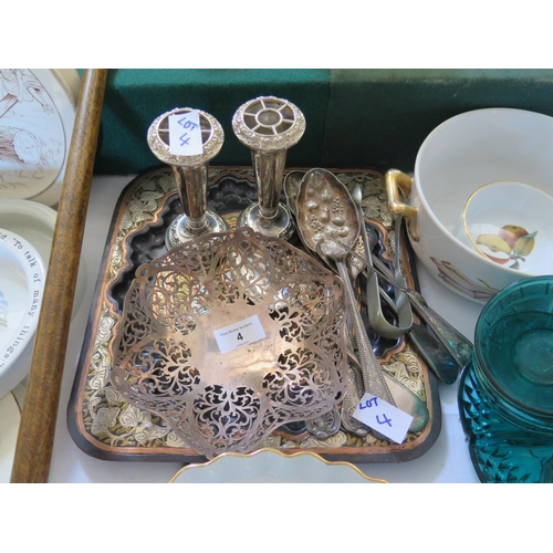 4 - Electroplated Silver Berry Spoons and other flatware, pair of vases and inlaid tray...