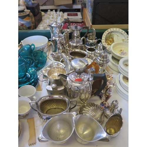 5 - A Selection of Electroplated Silver Tea Ware, sugar shakers and Picquot ware pewter coffee set...