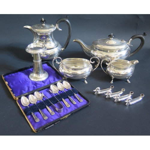 7 - A Four Part electroplated Silver Tea Set, cased set of teaspoons with tongs and set of four duck men...