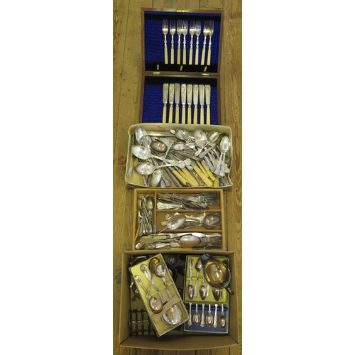 8 - A Large Selection of Electroplated Silver Flatware, sugar shaker, sauce boat etc....