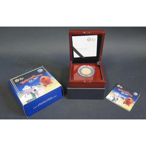 793 - The Royal Mint _ Wallace & Gromit 2019 UK 50p Gold Proof Coin with COA 241/640  **PAYMENT BY CHIP AN...