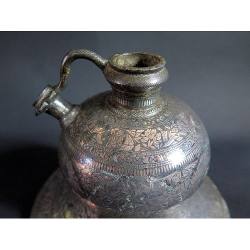530 - A Indian Bidriware Hookah Pipe Base, probably 18th century, base 19.5cm diam.  **PAYMENT IN PERSON O...