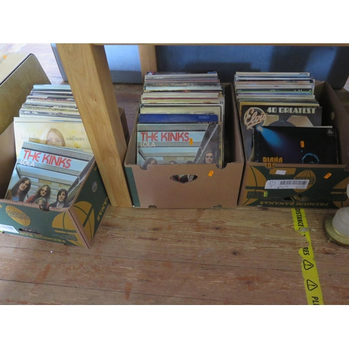 711 - A Large Collection of LP Records Including The Kinks, Bee Gees, Elvis, Diana Ross etc. (Three Boxes)...