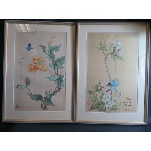 533 - A Pair of Republican Chinese Paintings on Silk of birds and blossom, 40x25cm, framed and glazed...