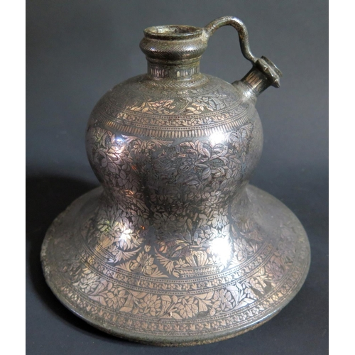 1188 - A Indian Bidriware Hookah Pipe Base, probably 18th century, base 19.5cm diam....