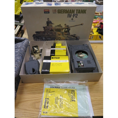 1A - An Imai 1/15 Scale German Tank IV-F2 Plastic Assembly Kit with Futaba RipMax Radio Control Equipment...