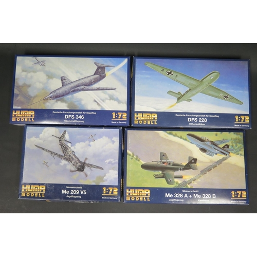 10 - Four Huma Modell WWII German War Plane Kits 1/72 Scale. 4002, 3503, 3505, 3504. Appear unmade, compl...