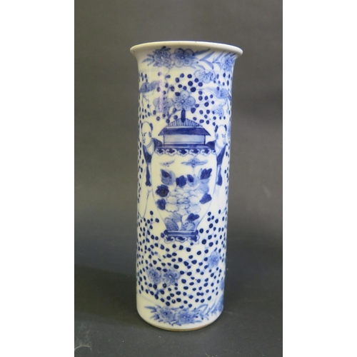 1148 - An 18th Century Chinese Blue and White Sleeve Vase, 19cm. Two chips to rim...