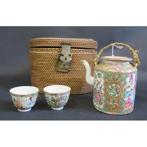 1149 - A 19th Century Cantonese Famille Rose Teapot and Bowl in original case (phone bid in 10)...