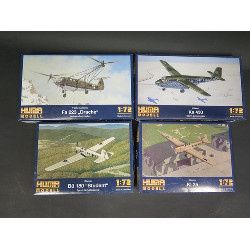 12 - Four Huma Modell WWII German War Plane Kits 1/72 Scale. 3004, 5000, 3008, 4501. Appear unmade, compl...