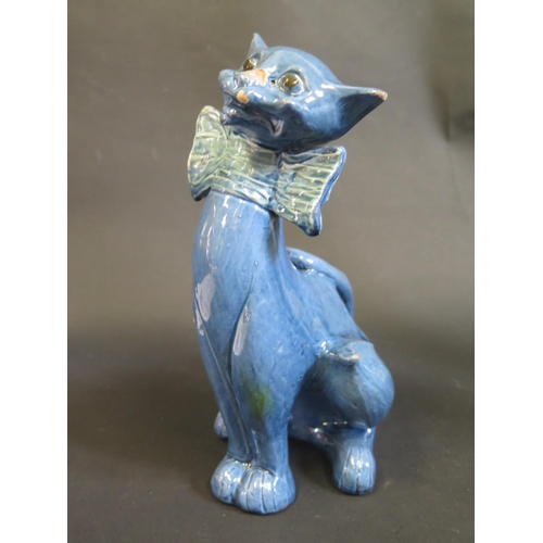 1216A - A Brannam Blue Glazed Cat, 25.5cm...