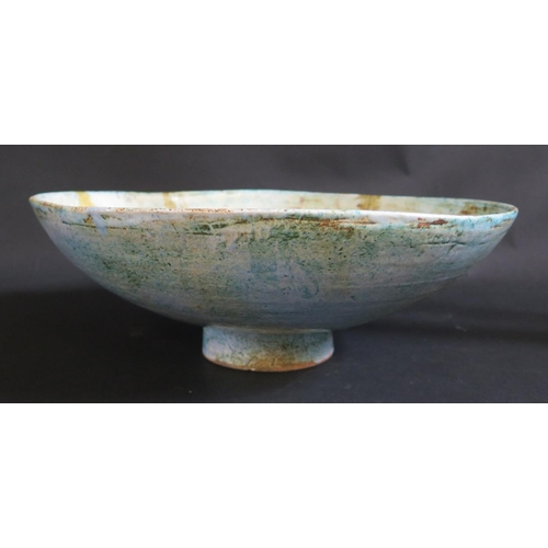 1221 - A Pottery Bowl with Troika influence, 36cm dia. Badly damaged and glued...