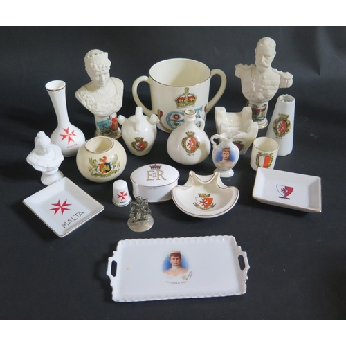 1223 - A Goss Edward VII Royal Commemorative Mug, Arcadian George V and Queen Mary Busts and other crested ...