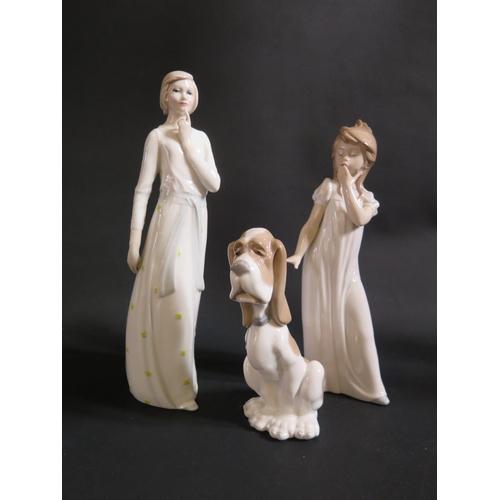 1225 - A Royal Doulton Reflections 'Pensive' Figurine HN3109,  Nao figurine and Nao dog...