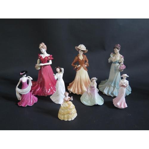 1226 - Seven Coalport Figurines and Royal Doulton figurine...