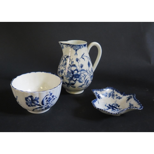 1231 - An 18th Century Worcester Lobed Porcelain Blue and White Tea Bowl (crescent mark), jug with crescent...
