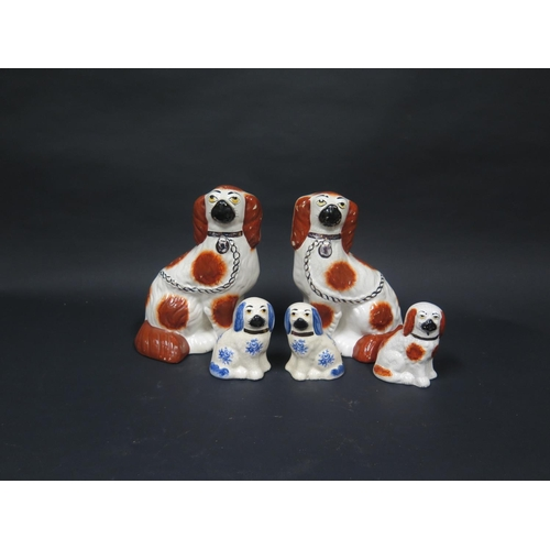 1241 - Reproduction Staffordshire Spaniels, tallest 22cm...