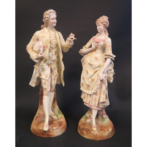 1244 - A Pair of 19th Cenury Biscuit Figurines of Gallant and Maid, 42.5cm. Faults too fingers...