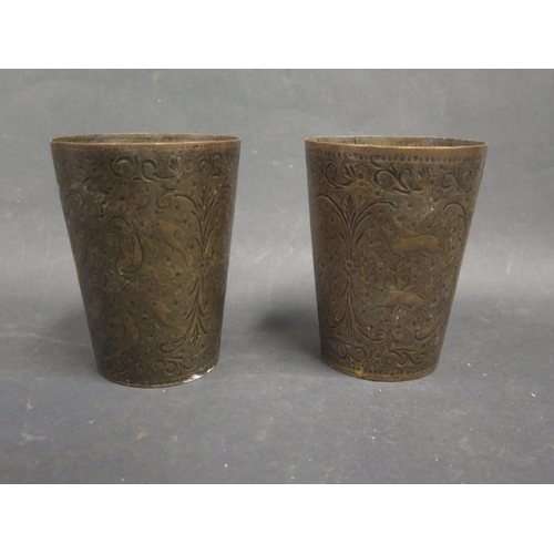 1244a - A Pair of Indian Engraved Beakers, 12.5cm...