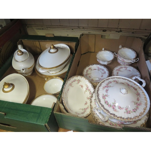 1285 - Two Boxes of Ceramics including Royal Albert 'DIMITRY ROSE', Royal Doulton 'ROYAL GOLD' and 'BELMONT...