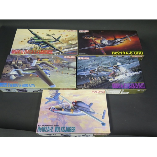 13 - Five Dragon WWII German War Plane Kits 1/72 Scale. 5001, 5002, 5003, 5004, 5005. Appear unmade, comp...