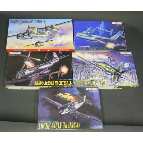14 - Five Dragon WWII German War Plane Kits 1/72 Scale. 5007, 5009, 5012, 5014, 9005. Appear unmade, comp...