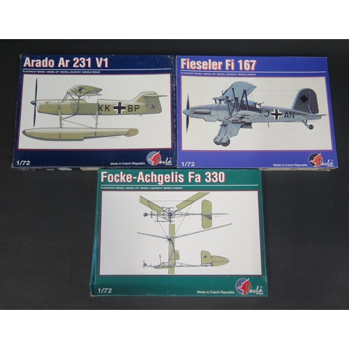 15 - Three Pavla (Made in Czech Republic) German Planes and Helicopter Kits 1/72 Scale. Fieseler Fi 167, ...
