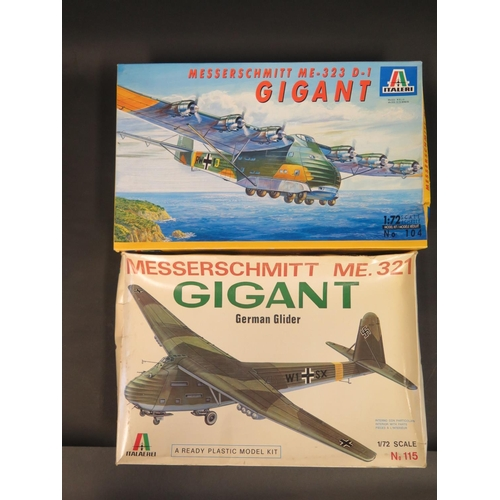 16 - Two Italeri Messerschmitt Gigant WWII German War Plane Kits 1/72 Scale. No. 104, No. 115. Appear unm...